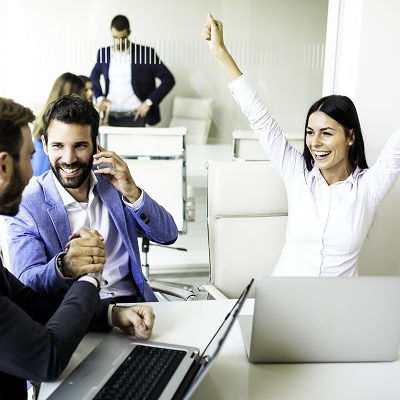 Group of business people just received good news